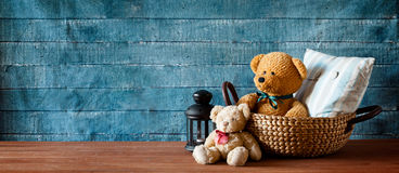 Cute Teddy Bear In A Basket Banner Stock Photo