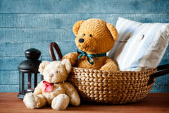 Cute Teddy Bear In A Basket Royalty Free Stock Image