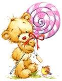 Cute Teddy bear. birthday greeting card watercolor illustration royalty free illustration