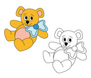 Cute teddy bear with blue bow. Around his neck. The blank version could be used for coloring book pages for kids Stock Photography