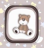 Cute Teddy Bear card in brown Stock Image