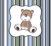 Cute teddy bear card with label frame. On stripey background Stock Photography