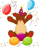 Cute teddy bear celebrates birthday Stock Photography