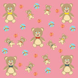 Cute Teddy Bear and colored balls. Background with children's toys. Stock Photography