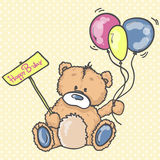 Cute Teddy bear with the colorful balloons. Hand drawn teddy bear. Birthday  greeting card. Party invitation Stock Image