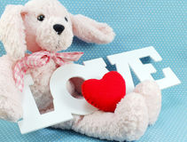 Cute teddy bear concept valentine day on blue polka dot background Stock Photography