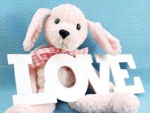 Cute teddy bear concept valentine day on blue polka dot background Stock Photo