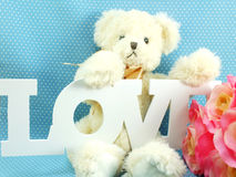 Cute teddy bear concept valentine day on blue polka dot background Royalty Free Stock Images