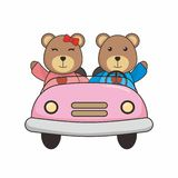 Cute Teddy Bear Couple Driving A Car Vector Illustartion royalty free illustration