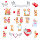 Cute Teddy Bear Decorative Collection on White Stock Image