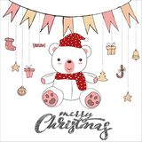 Cute teddy bear doodle isolated on white background for merry christmas card vector. Cute teddy bear doodle isolated on white background for merry christmas stock illustration