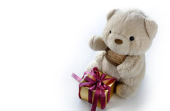 Cute Teddy Bear with Elegance Golden Gift Box Royalty Free Stock Photo