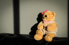 Cute Teddy bear female doll toy is sitting on old vintage sofa Royalty Free Stock Photos