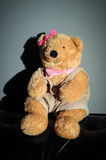 Cute Teddy bear female doll toy is sitting on old vintage sofa. A teddy bear is a soft toy in the form of a bear. Developed apparently simultaneously by Royalty Free Stock Photo
