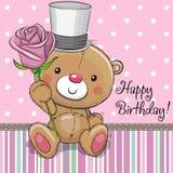 Cute Teddy Bear with a flower. Greeting card Cute Teddy Bear with a flower vector illustration