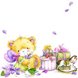 Cute teddy bear and flower violet background. Watercolor teddy bear. Toy bear, flowers and gifts background for invitation, card, kid celebration. watercolor Royalty Free Stock Photography