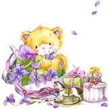 Cute teddy bear and flower violet background. Watercolor teddy bear. Toy bear, flowers and gifts background for invitation, card, kid celebration. watercolor Stock Image