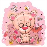 Bear with flowers. Cute Teddy Bear with flowers and butterflies Royalty Free Stock Images