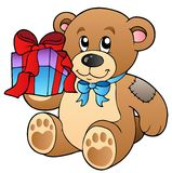 Cute teddy bear with gift. Illustration Stock Image