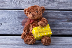 Cute teddy bear with a gift. Yellow gift box from bears in his a Stock Image