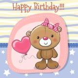 Cute Teddy bear girl with balloon royalty free illustration