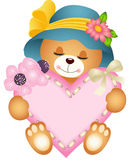 Cute teddy bear girl with heart Stock Images