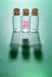 Cute teddy bear and glass bottle Stock Photo