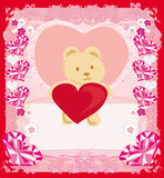 Cute Teddy bear with heart Royalty Free Stock Image