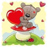 Cute Teddy Bear with heart Stock Photos