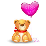 Cute teddy bear. With in heart shape balloons, festive icon Stock Photos