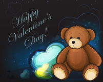 Cute teddy bear and hearts Stock Photography