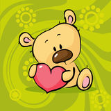 Cute teddy bear hold heart - valentine vector Royalty Free Stock Photos