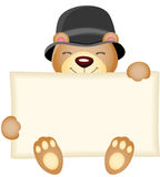 Cute teddy bear holding a blank sign Royalty Free Stock Image