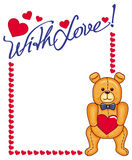 Cute Teddy Bear holding red hearts Royalty Free Stock Photo