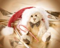 Cute teddy bear iin Santa's hat Stock Photos