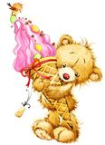 Cute teddy bear watercolor illustration vector illustration