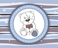 Cute teddy bear label card in blue and brown Royalty Free Stock Images