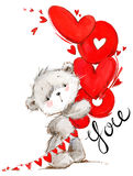 Cute teddy bear. Love you card. Valentines day watercolor background. Royalty Free Stock Images