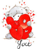 Cute teddy bear. Love you card. Valentines day watercolor background. Stock Image
