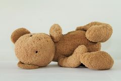 Cute Teddy Bear Lying Down, Isolated on White Backround Stock Photo
