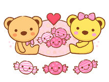 The cute a teddy bear mascot and candy. Valentine Character Desi Stock Photo