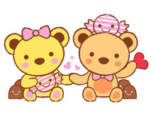 Cute teddy bear mascot and Chocolate. Valentine Character Design Stock Images