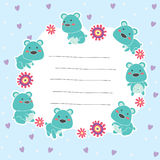 Cute teddy bear memo layout design Stock Photography