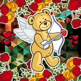 Cute teddy bear on a mosaic background with roses. The layout for greeting cards, Valentine Day cards, labels, tags, banners, flyers, ads.  Vector clip art Royalty Free Stock Images
