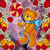 Cute teddy bear on a mosaic background with roses. The layout for greeting cards, Valentine Day cards, labels, tags, banners, flyers, ads.  Vector clip art Stock Images