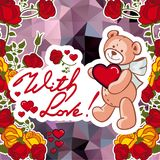 Cute teddy bear on a mosaic background with roses. The layout for greeting cards, Valentine Day cards, labels, tags, banners, flyers, ads.  Vector clip art Royalty Free Stock Photo