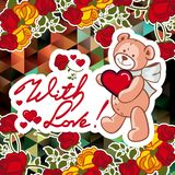 Cute teddy bear on a mosaic background with roses. The layout for greeting cards, Valentine Day cards, labels, tags, banners, flyers, ads.  Vector clip art Royalty Free Stock Photography