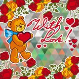 Cute teddy bear on a mosaic background with roses. The layout for greeting cards, Valentine Day cards, labels, tags, banners, flyers, ads.  Vector clip art Royalty Free Stock Image