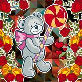 Cute teddy bear on a mosaic background with roses. The layout for greeting cards, Valentine Day cards, labels, tags, banners, flyers, ads. Vector clip art stock illustration
