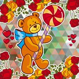 Cute teddy bear on a mosaic background with roses. The layout for greeting cards, Valentine Day cards, labels, tags, banners, flyers, ads.  Vector clip art Stock Image